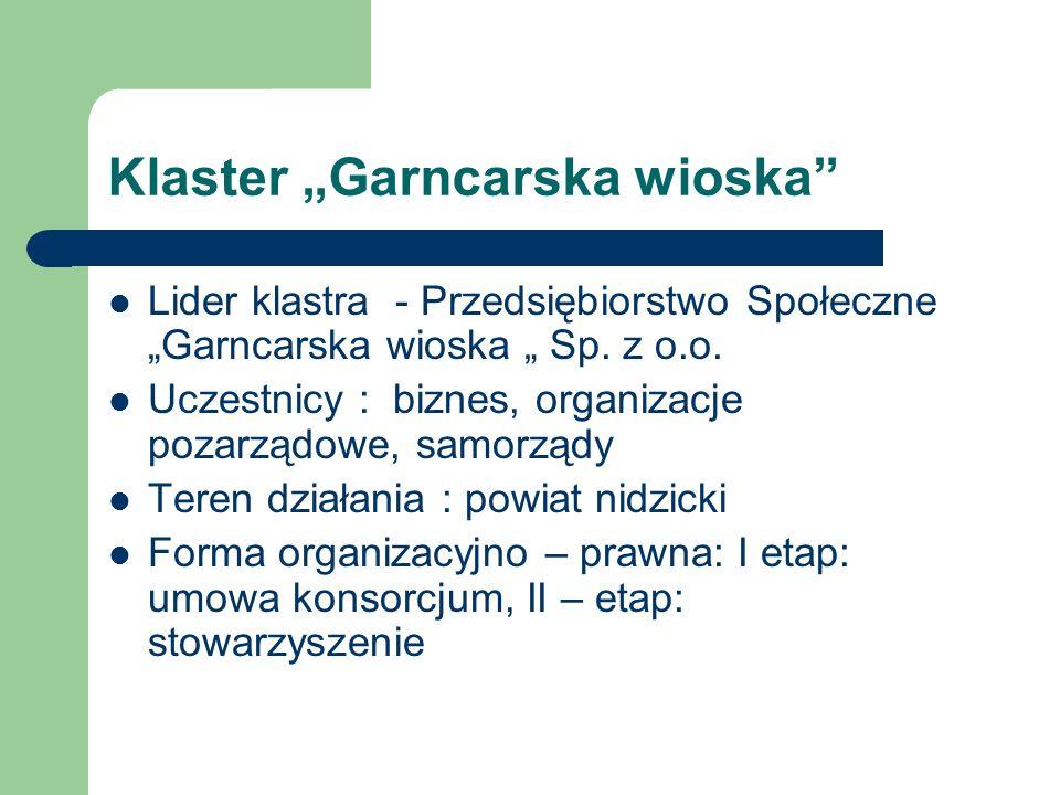 Klaster Garncarska wioska Lider klastra - Przedsiębiorstwo Społeczne Garncarska wioska Sp. z o.o. Uczestnicy : biznes, organizacje pozarządowe, samorz