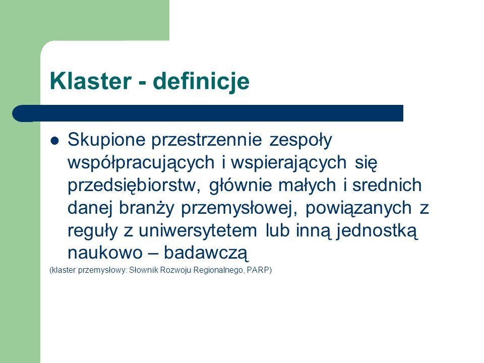 Klaster - definicje Skupione przestrzennie zespoły współpracujących i wspierających się przedsiębiorstw, głównie małych i srednich danej branży przemy