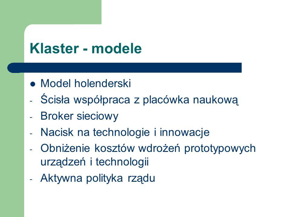 Klaster - modele Model holenderski - Ścisła współpraca z placówka naukową - Broker sieciowy - Nacisk na technologie i innowacje - Obniżenie kosztów wd