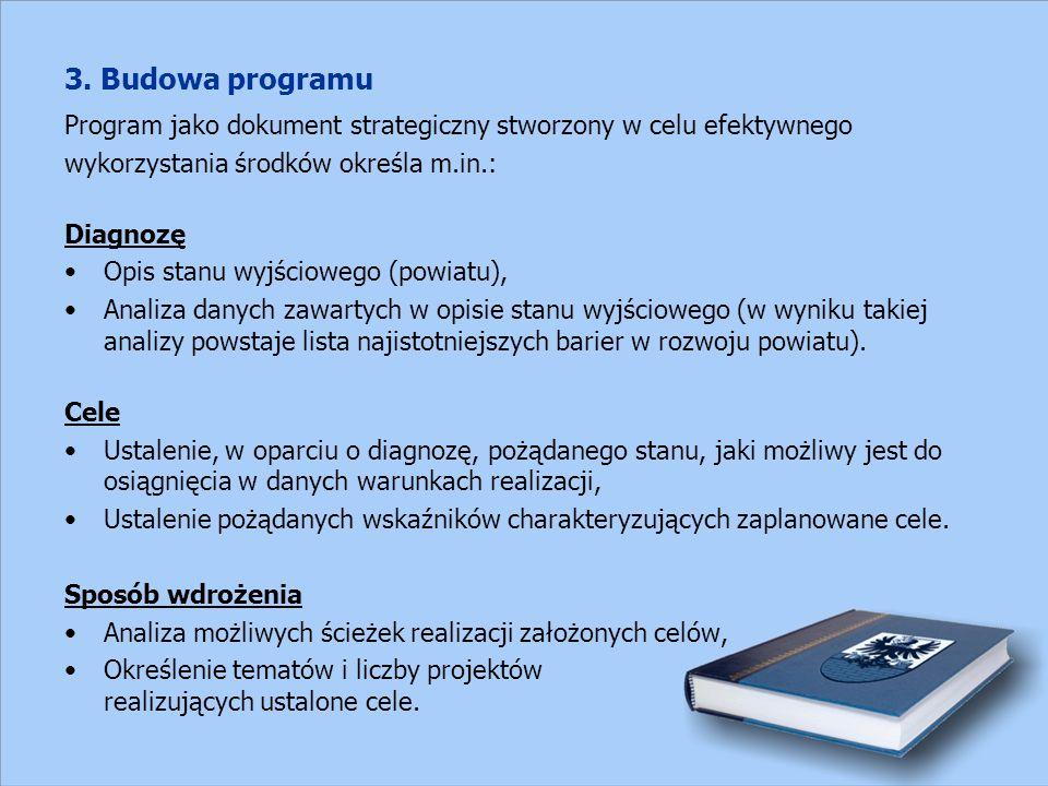 3. Budowa programu Program jako dokument strategiczny stworzony w celu efektywnego wykorzystania środków określa m.in.: Diagnozę Opis stanu wyjścioweg