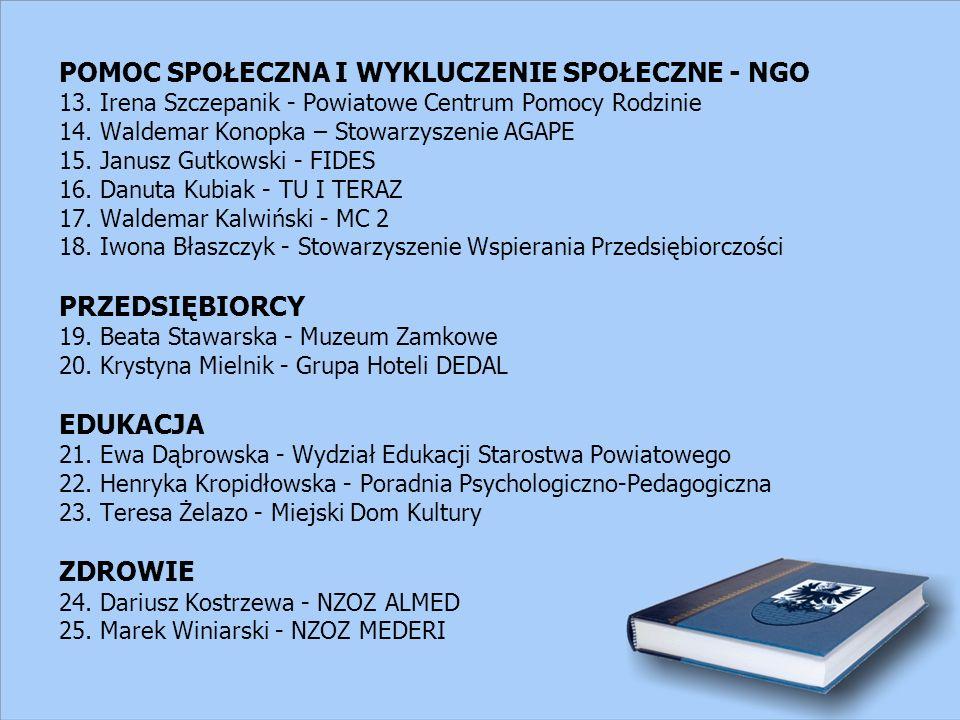 POMOC SPOŁECZNA I WYKLUCZENIE SPOŁECZNE - NGO 13. Irena Szczepanik - Powiatowe Centrum Pomocy Rodzinie 14. Waldemar Konopka – Stowarzyszenie AGAPE 15.
