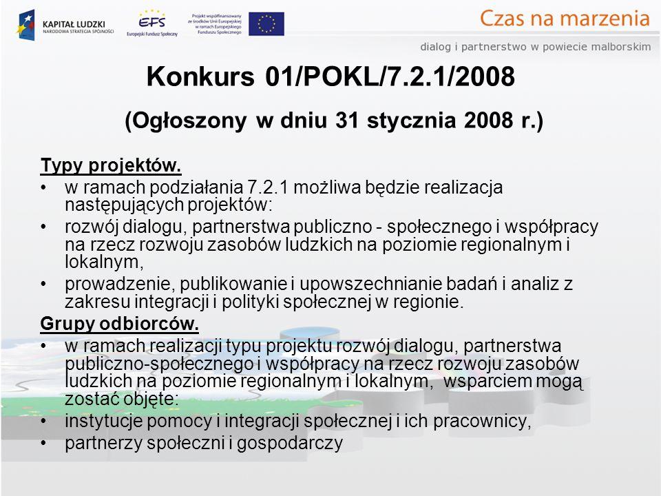 Konkurs 01/POKL/7.2.1/2008 (Ogłoszony w dniu 31 stycznia 2008 r.) Typy projektów. w ramach podziałania 7.2.1 możliwa będzie realizacja następujących p