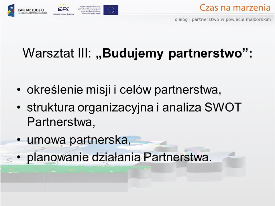 Warsztat III: Budujemy partnerstwo: określenie misji i celów partnerstwa, struktura organizacyjna i analiza SWOT Partnerstwa, umowa partnerska, planow
