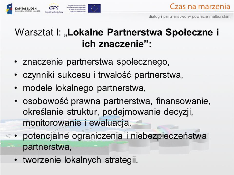 Warsztat I: Lokalne Partnerstwa Społeczne i ich znaczenie: znaczenie partnerstwa społecznego, czynniki sukcesu i trwałość partnerstwa, modele lokalneg