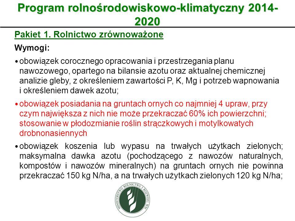Program rolnośrodowiskowo-klimatyczny 2014- 2020 Pakiet 1. Rolnictwo zrównoważone Wymogi: obowiązek corocznego opracowania i przestrzegania planu nawo