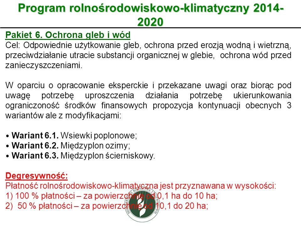 Wariant Program rolnośrodowiskowo-klimatyczny 2014- 2020 Pakiet 6. Ochrona gleb i wód Cel: Odpowiednie użytkowanie gleb, ochrona przed erozją wodną i