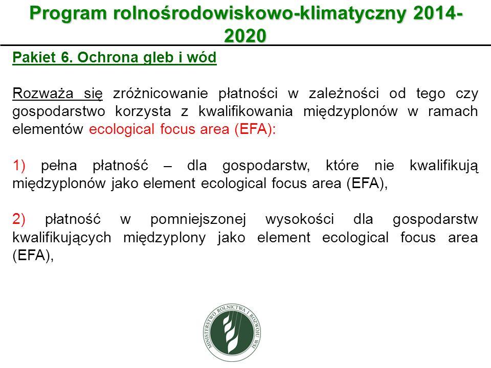 Wariant Program rolnośrodowiskowo-klimatyczny 2014- 2020 Pakiet 6. Ochrona gleb i wód Rozważa się zróżnicowanie płatności w zależności od tego czy gos