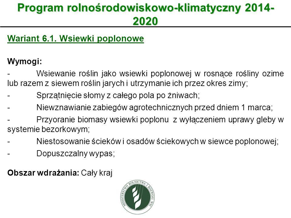 Wariant Program rolnośrodowiskowo-klimatyczny 2014- 2020 Wariant 6.1. Wsiewki poplonowe Wymogi: -Wsiewanie roślin jako wsiewki poplonowej w rosnące ro