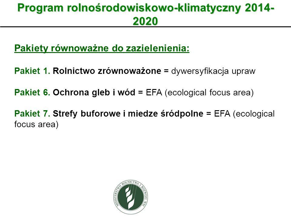 Program rolnośrodowiskowo-klimatyczny 2014- 2020 Pakiety równoważne do zazielenienia: Pakiet 1. Rolnictwo zrównoważone = dywersyfikacja upraw Pakiet 6