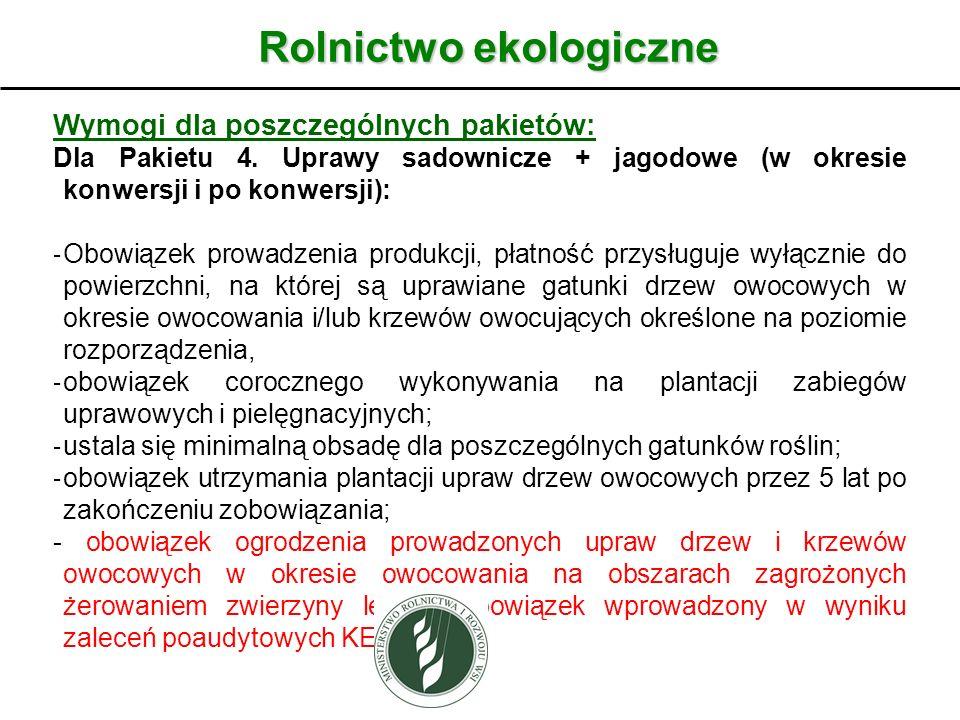 Rolnictwo ekologiczne Wymogi dla poszczególnych pakietów: Dla Pakietu 4. Uprawy sadownicze + jagodowe (w okresie konwersji i po konwersji): - Obowiąze