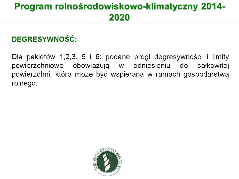 Program rolnośrodowiskowo-klimatyczny 2014- 2020 DEGRESYWNOŚĆ: Dla pakietów 1,2,3, 5 i 6: podane progi degresywności i limity powierzchniowe obowiązuj