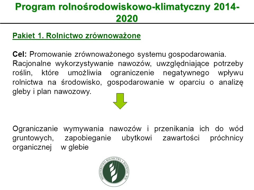 Program rolnośrodowiskowo-klimatyczny 2014- 2020 Pakiet 1. Rolnictwo zrównoważone Cel: Promowanie zrównoważonego systemu gospodarowania. Racjonalne wy
