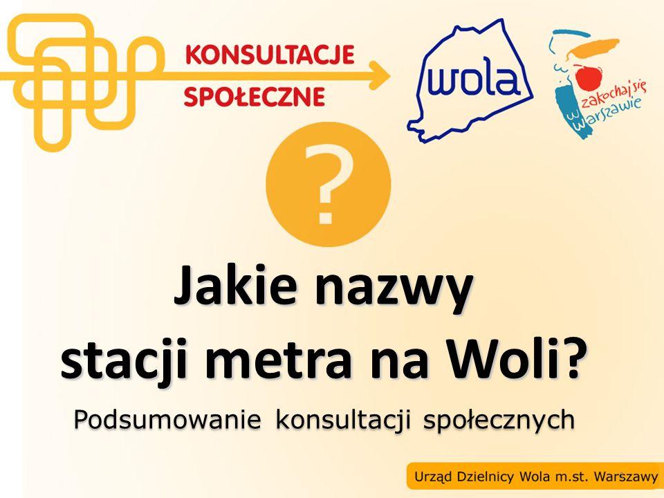 22 Propozycje nazw stacji II linii metra na Woli Lokalizacja: ul.