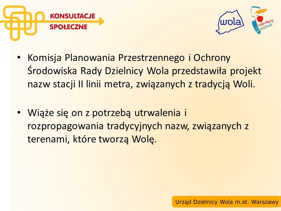 3 Komisja Planowania Przestrzennego i Ochrony Środowiska Rady Dzielnicy Wola przedstawiła projekt nazw stacji II linii metra, związanych z tradycją Wo