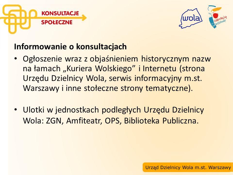 6 Informowanie o konsultacjach Ogłoszenie wraz z objaśnieniem historycznym nazw na łamach Kuriera Wolskiego i Internetu (strona Urzędu Dzielnicy Wola,