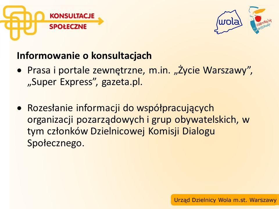 7 Informowanie o konsultacjach Prasa i portale zewnętrzne, m.in. Życie Warszawy, Super Express, gazeta.pl. Rozesłanie informacji do współpracujących o