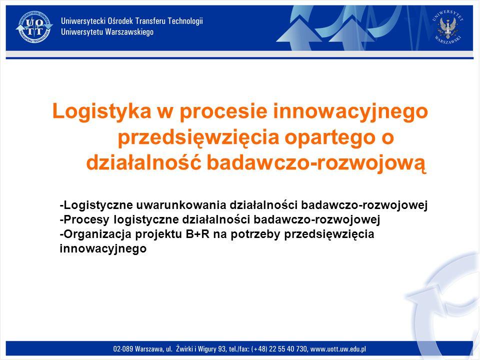 Logistyka w procesie innowacyjnego przedsięwzięcia opartego o działalność badawczo-rozwojową -Logistyczne uwarunkowania działalności badawczo-rozwojow
