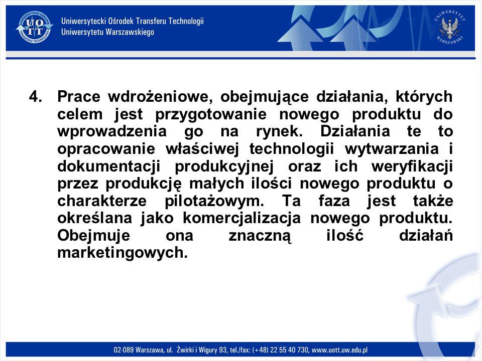 4.Prace wdrożeniowe, obejmujące działania, których celem jest przygotowanie nowego produktu do wprowadzenia go na rynek. Działania te to opracowanie w