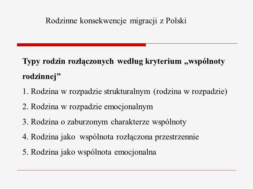 Rodzinne konsekwencje migracji z Polski Typy rodzin rozłączonych według kryterium wspólnoty rodzinnej 1.