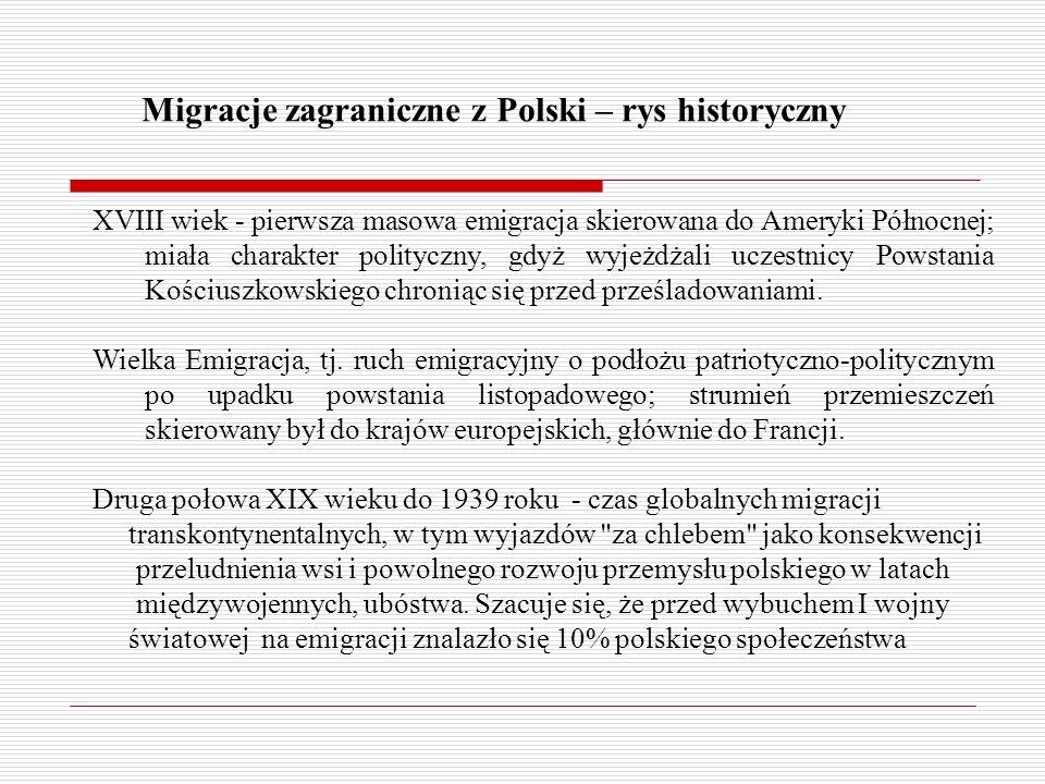 Migracje zagraniczne z Polski – rys historyczny XVIII wiek - pierwsza masowa emigracja skierowana do Ameryki Północnej; miała charakter polityczny, gdyż wyjeżdżali uczestnicy Powstania Kościuszkowskiego chroniąc się przed prześladowaniami.
