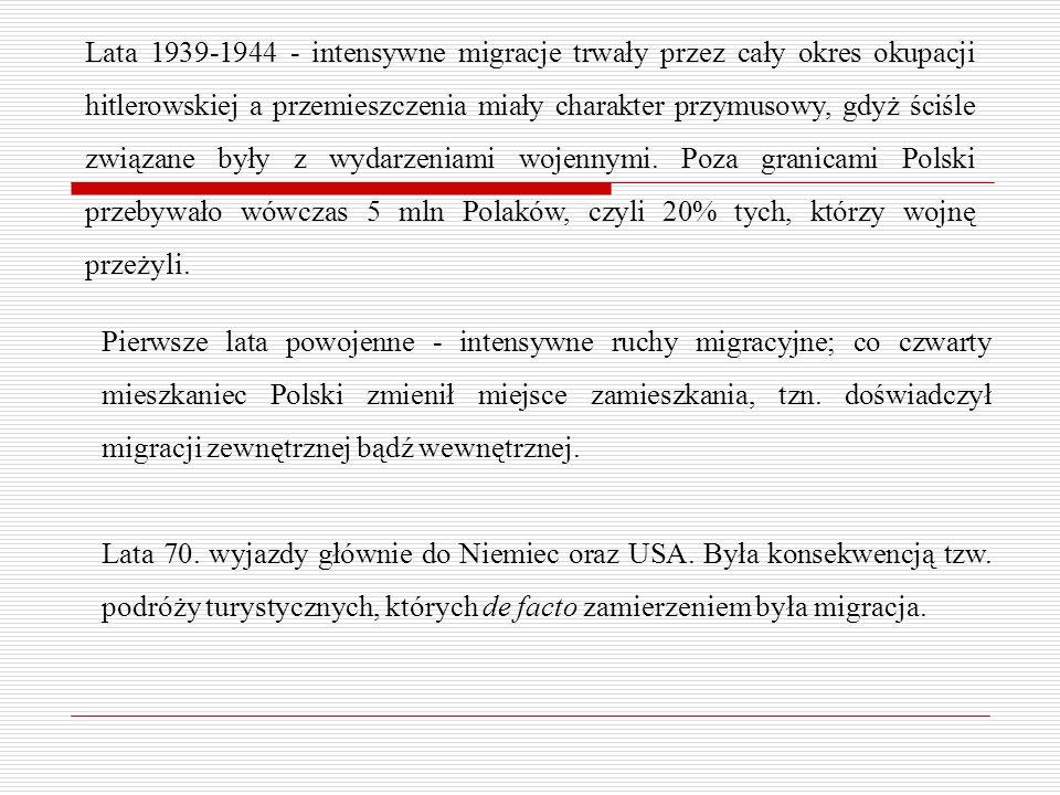 Lata 1939-1944 - intensywne migracje trwały przez cały okres okupacji hitlerowskiej a przemieszczenia miały charakter przymusowy, gdyż ściśle związane
