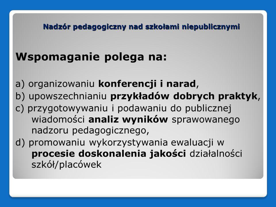 Nadzór pedagogiczny nad szkołami niepublicznymi Wspomaganie polega na: a) organizowaniu konferencji i narad, b) upowszechnianiu przykładów dobrych pra