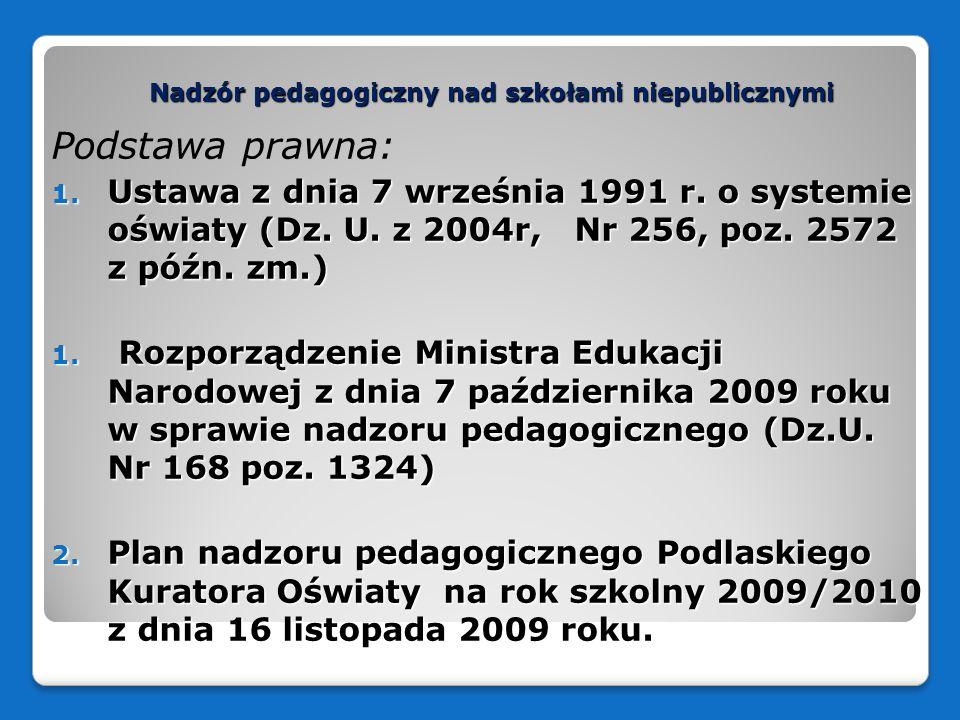 Nadzór pedagogiczny nad szkołami niepublicznymi Podstawa prawna: 1. Ustawa z dnia 7 września 1991 r. o systemie oświaty (Dz. U. z 2004r, Nr 256, poz.