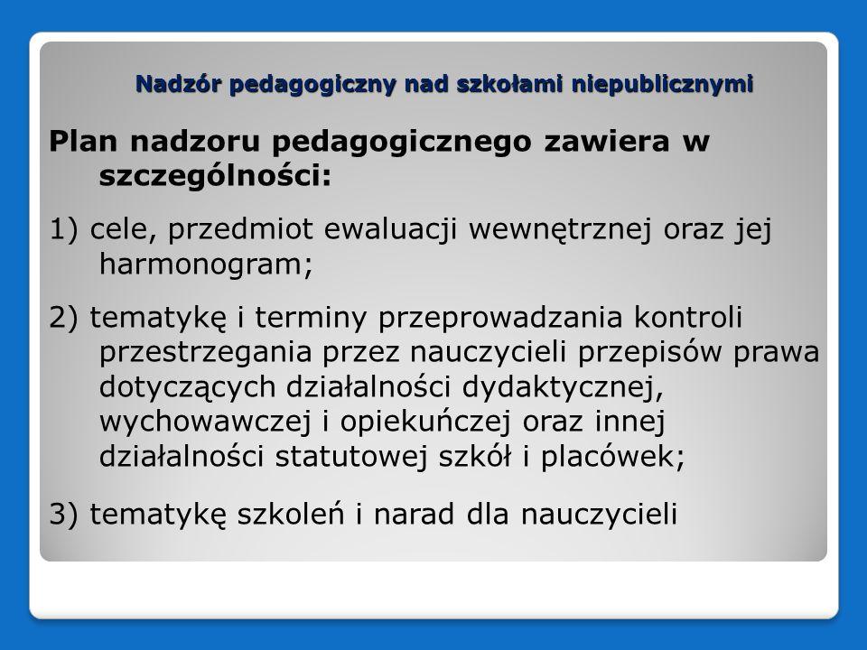 Nadzór pedagogiczny nad szkołami niepublicznymi Plan nadzoru pedagogicznego zawiera w szczególności: 1) cele, przedmiot ewaluacji wewnętrznej oraz jej