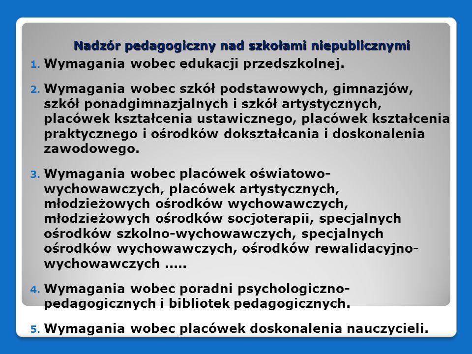 Nadzór pedagogiczny nad szkołami niepublicznymi 1. Wymagania wobec edukacji przedszkolnej. 2. Wymagania wobec szkół podstawowych, gimnazjów, szkół pon