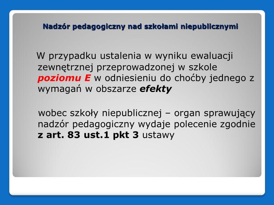 Nadzór pedagogiczny nad szkołami niepublicznymi W przypadku ustalenia w wyniku ewaluacji zewnętrznej przeprowadzonej w szkole poziomu E w odniesieniu