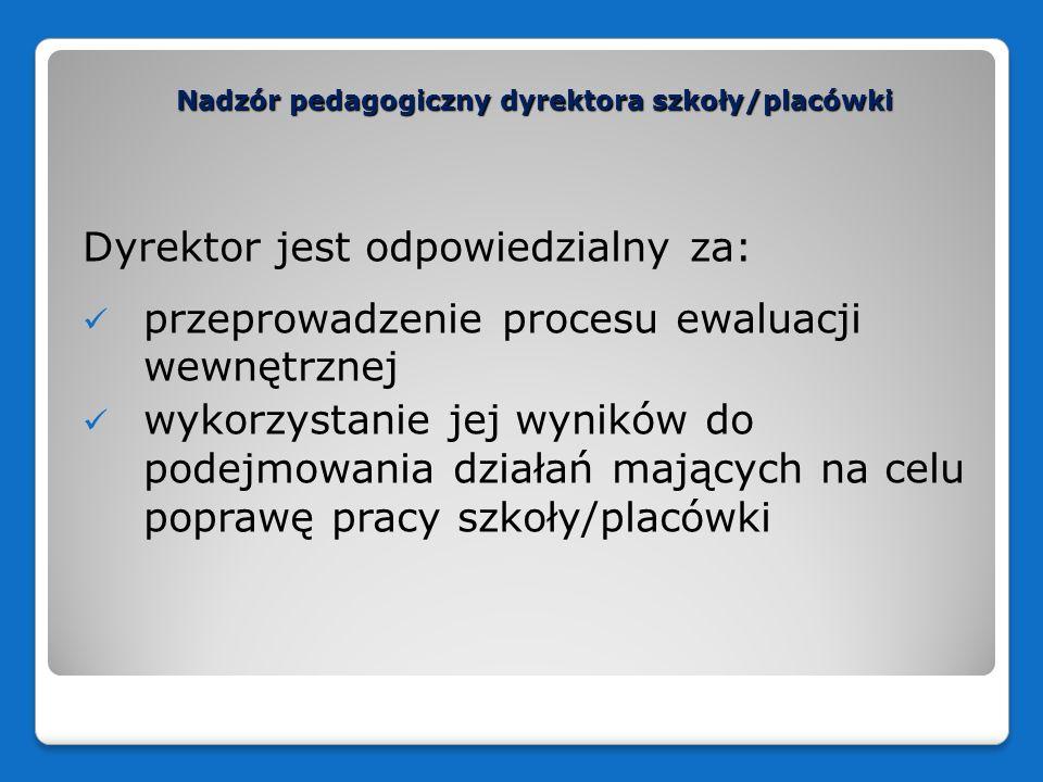 Nadzór pedagogiczny dyrektora szkoły/placówki Dyrektor jest odpowiedzialny za: przeprowadzenie procesu ewaluacji wewnętrznej wykorzystanie jej wyników