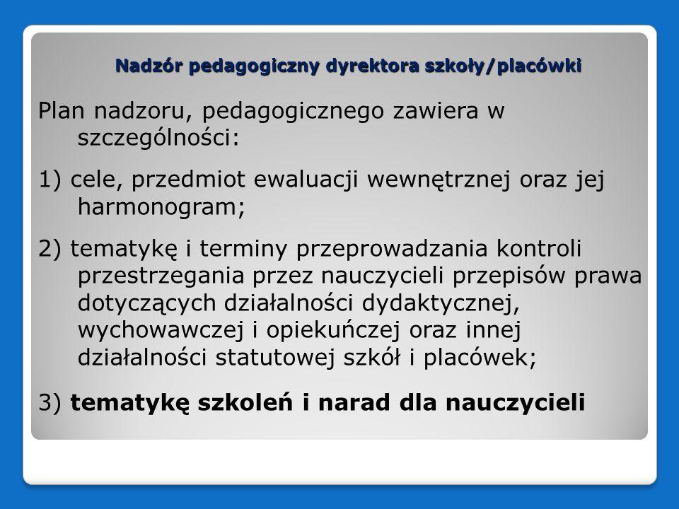 Nadzór pedagogiczny dyrektora szkoły/placówki Plan nadzoru, pedagogicznego zawiera w szczególności: 1) cele, przedmiot ewaluacji wewnętrznej oraz jej