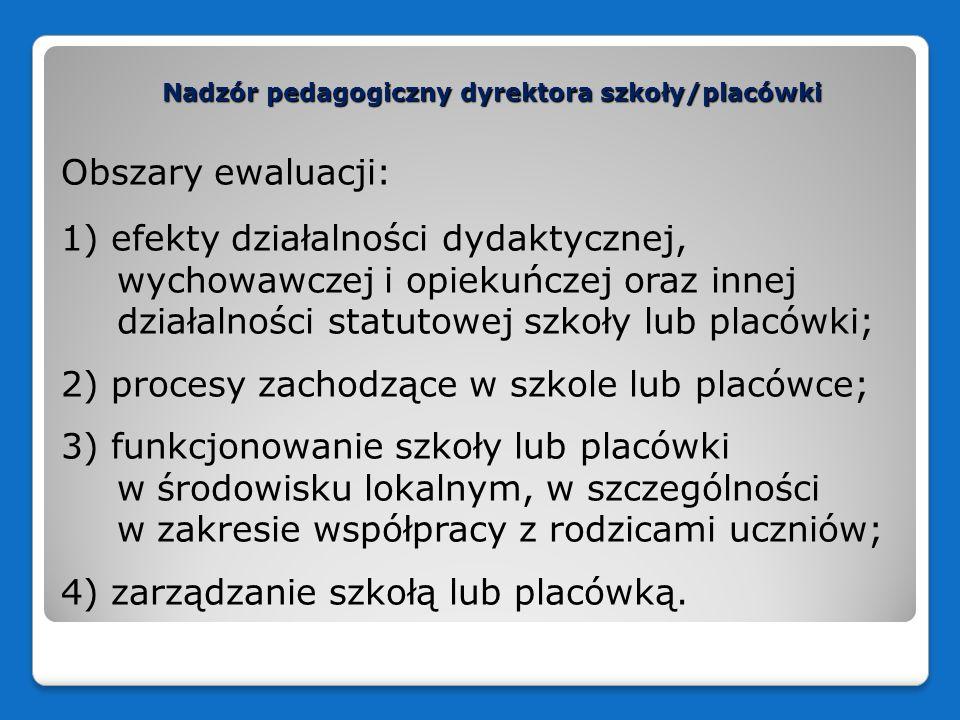 Nadzór pedagogiczny dyrektora szkoły/placówki Obszary ewaluacji: 1) efekty działalności dydaktycznej, wychowawczej i opiekuńczej oraz innej działalnoś