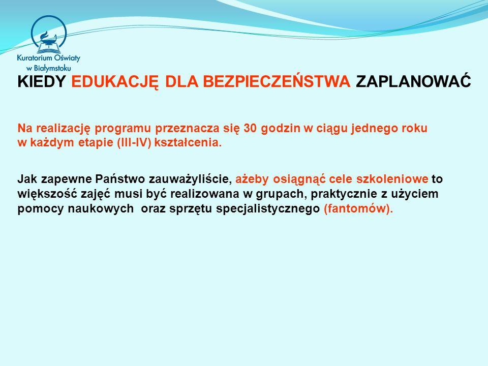 KIEDY EDUKACJĘ DLA BEZPIECZEŃSTWA ZAPLANOWAĆ Na realizację programu przeznacza się 30 godzin w ciągu jednego roku w każdym etapie (III-IV) kształcenia.