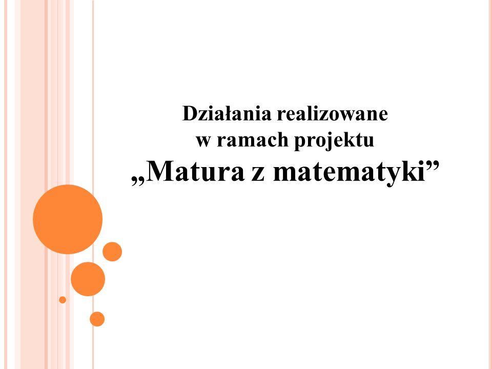 Działania realizowane w ramach projektu Matura z matematyki