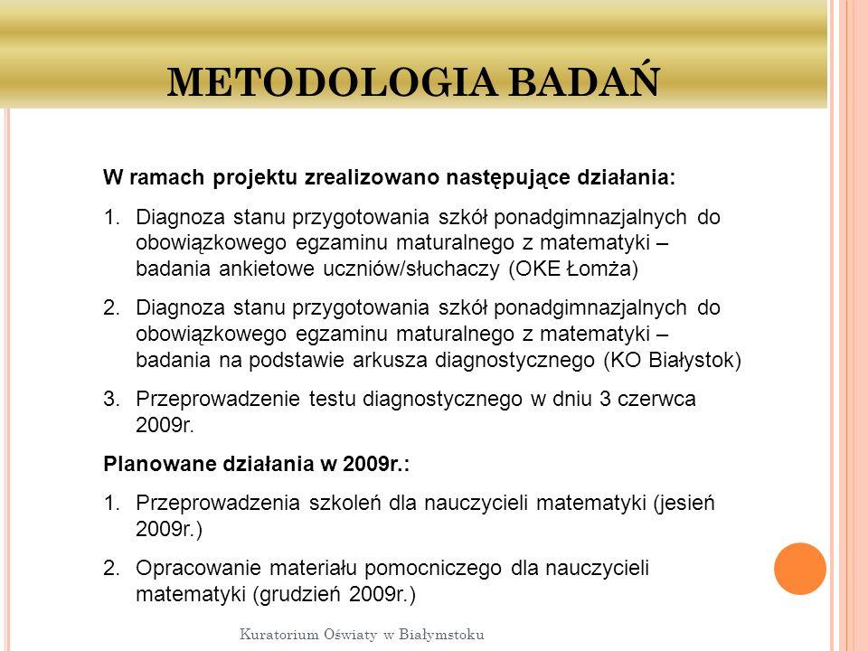 METODOLOGIA BADAŃ Kuratorium Oświaty w Białymstoku W ramach projektu zrealizowano następujące działania: 1.Diagnoza stanu przygotowania szkół ponadgimnazjalnych do obowiązkowego egzaminu maturalnego z matematyki – badania ankietowe uczniów/słuchaczy (OKE Łomża) 2.Diagnoza stanu przygotowania szkół ponadgimnazjalnych do obowiązkowego egzaminu maturalnego z matematyki – badania na podstawie arkusza diagnostycznego (KO Białystok) 3.Przeprowadzenie testu diagnostycznego w dniu 3 czerwca 2009r.