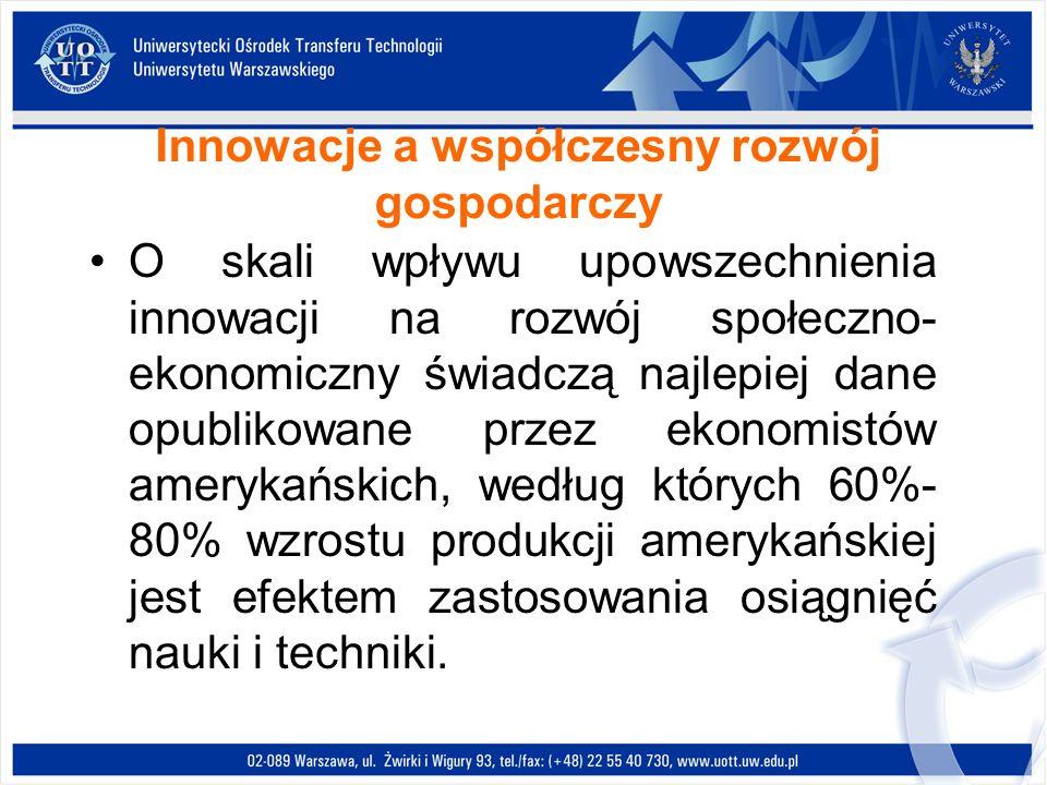 Innowacje a współczesny rozwój gospodarczy O skali wpływu upowszechnienia innowacji na rozwój społeczno- ekonomiczny świadczą najlepiej dane opublikow