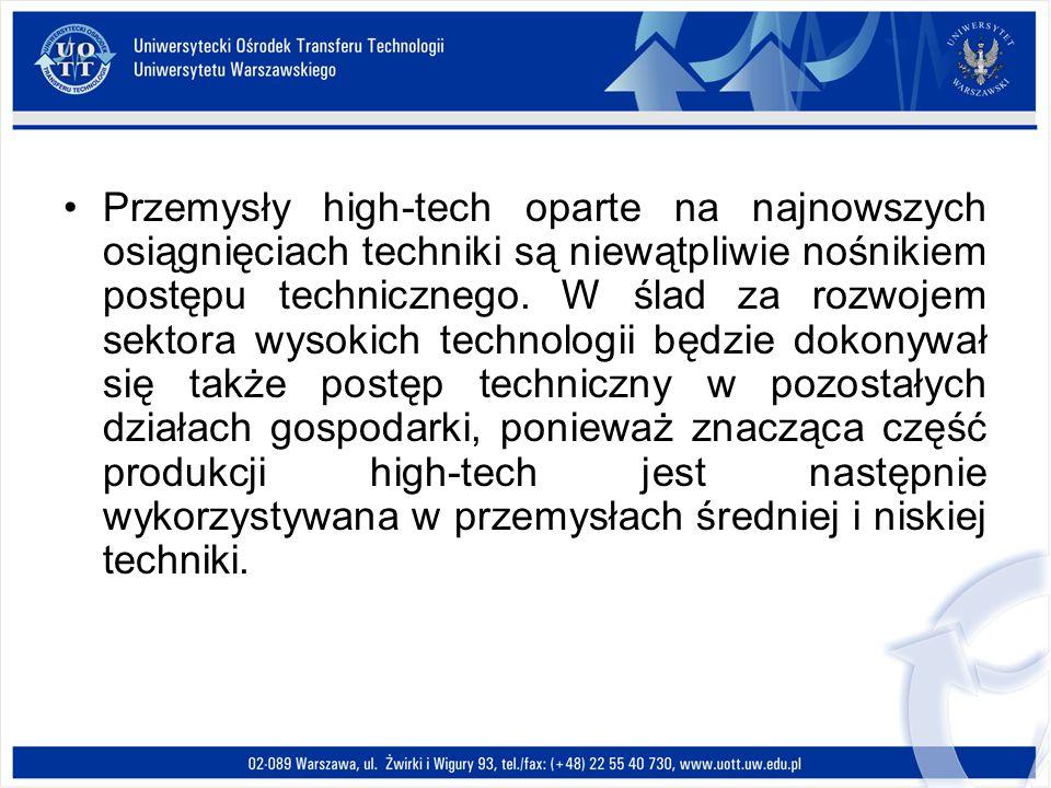 Przemysły high-tech oparte na najnowszych osiągnięciach techniki są niewątpliwie nośnikiem postępu technicznego. W ślad za rozwojem sektora wysokich t