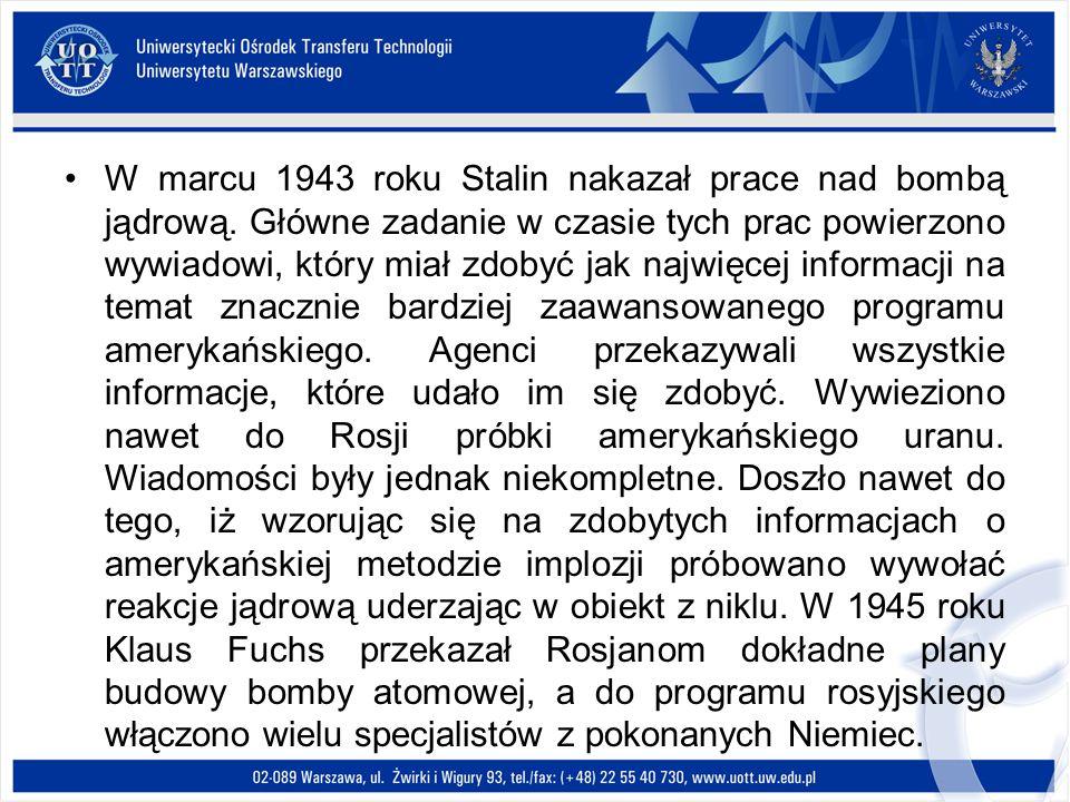 W marcu 1943 roku Stalin nakazał prace nad bombą jądrową. Główne zadanie w czasie tych prac powierzono wywiadowi, który miał zdobyć jak najwięcej info
