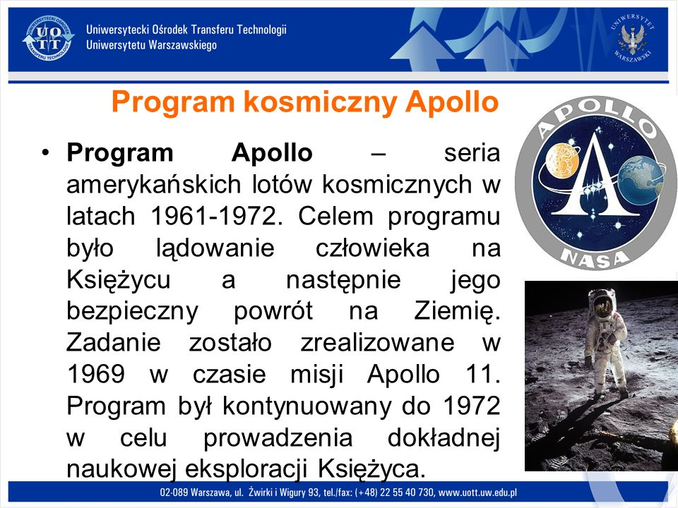Program kosmiczny Apollo Program Apollo – seria amerykańskich lotów kosmicznych w latach 1961-1972. Celem programu było lądowanie człowieka na Księżyc