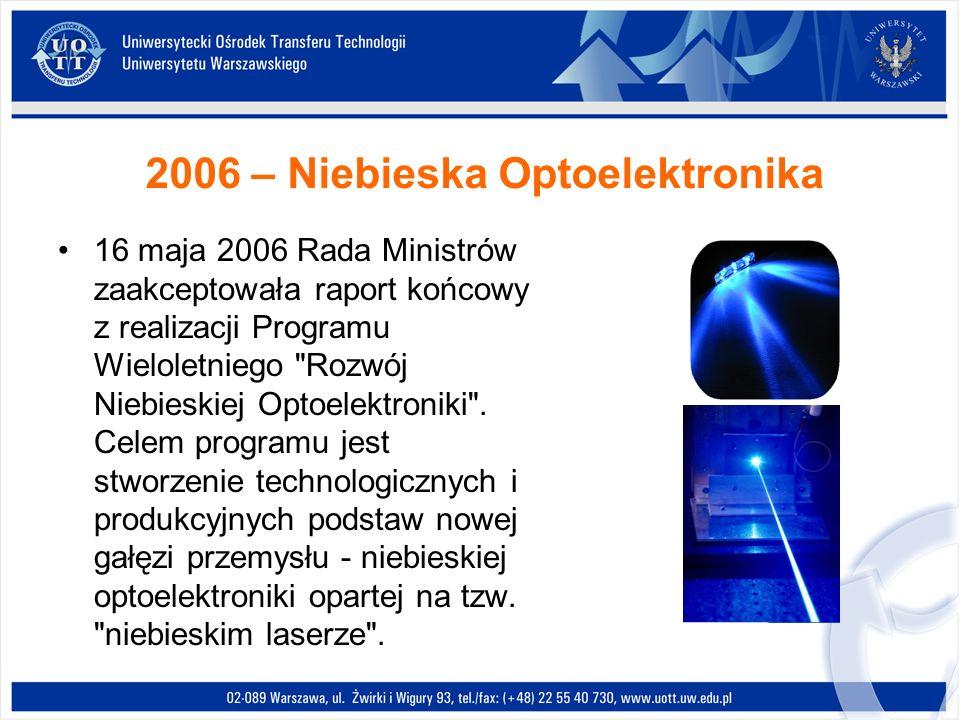 2006 – Niebieska Optoelektronika 16 maja 2006 Rada Ministrów zaakceptowała raport końcowy z realizacji Programu Wieloletniego
