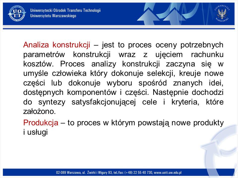 Analiza konstrukcji – jest to proces oceny potrzebnych parametrów konstrukcji wraz z ujęciem rachunku kosztów. Proces analizy konstrukcji zaczyna się