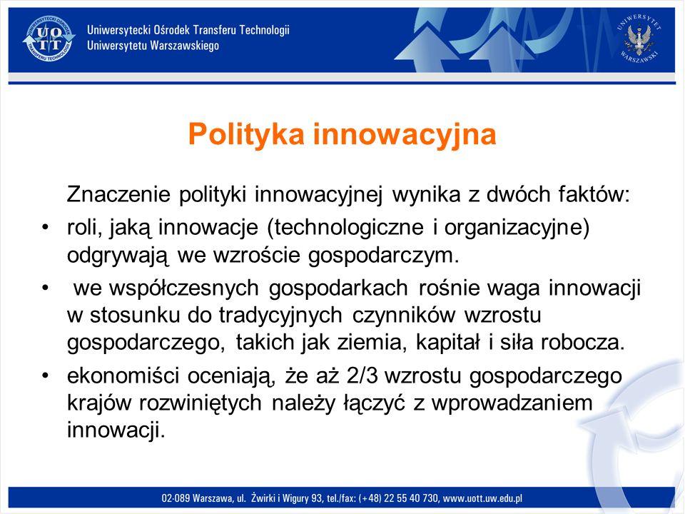 Polityka innowacyjna Znaczenie polityki innowacyjnej wynika z dwóch faktów: roli, jaką innowacje (technologiczne i organizacyjne) odgrywają we wzrości