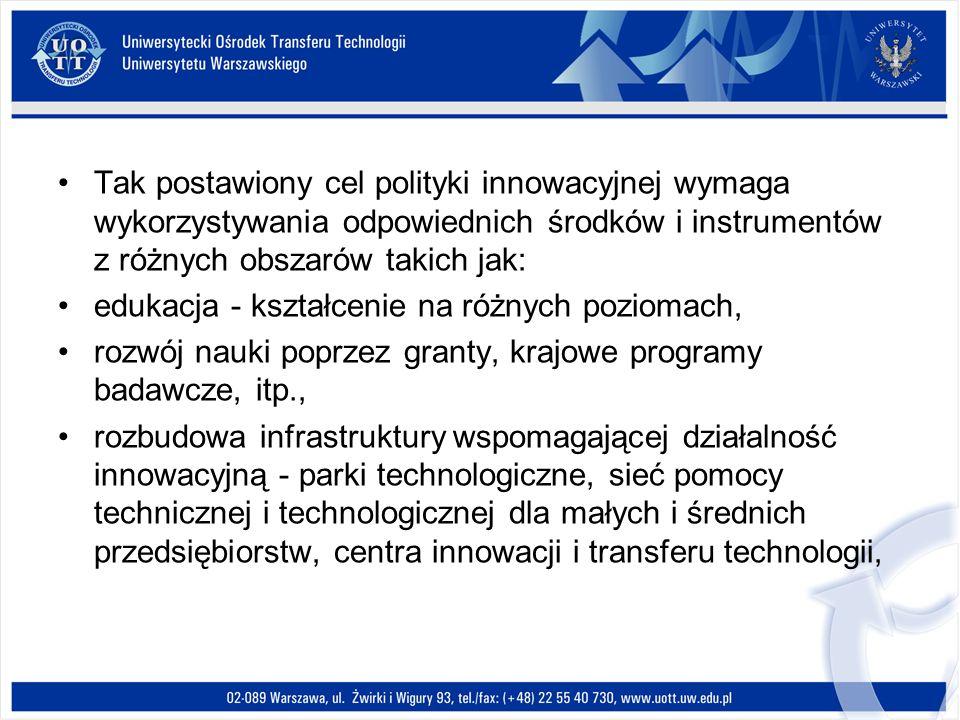 Tak postawiony cel polityki innowacyjnej wymaga wykorzystywania odpowiednich środków i instrumentów z różnych obszarów takich jak: edukacja - kształce