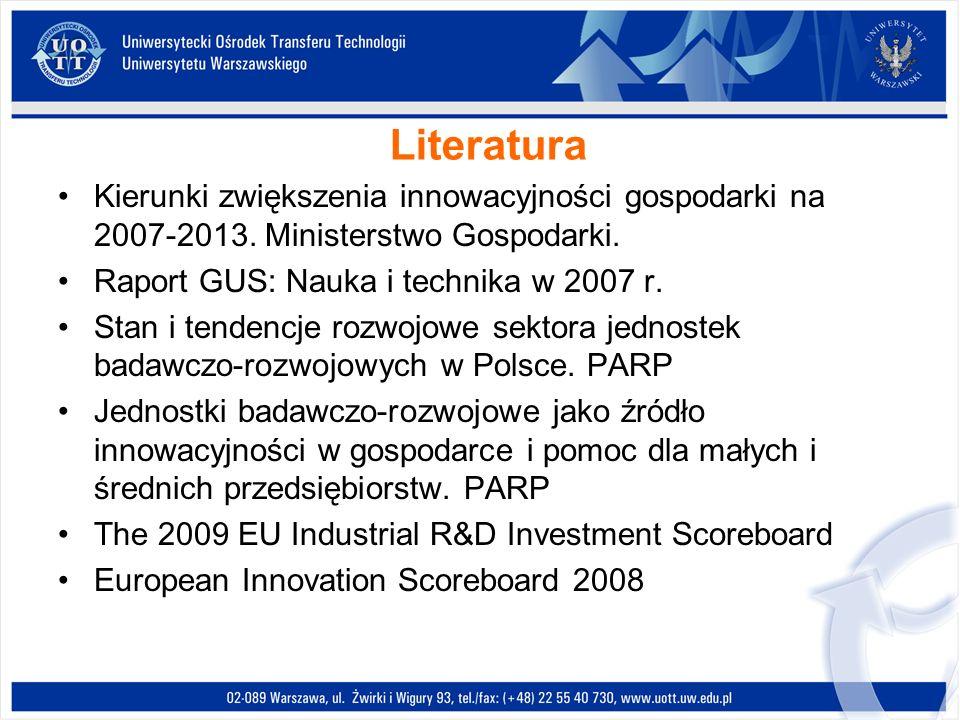 Literatura Kierunki zwiększenia innowacyjności gospodarki na 2007-2013. Ministerstwo Gospodarki. Raport GUS: Nauka i technika w 2007 r. Stan i tendenc