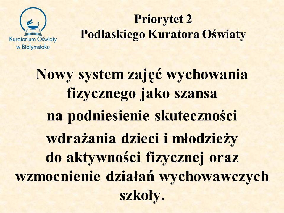Priorytet 2 Podlaskiego Kuratora Oświaty Nowy system zajęć wychowania fizycznego jako szansa na podniesienie skuteczności wdrażania dzieci i młodzieży