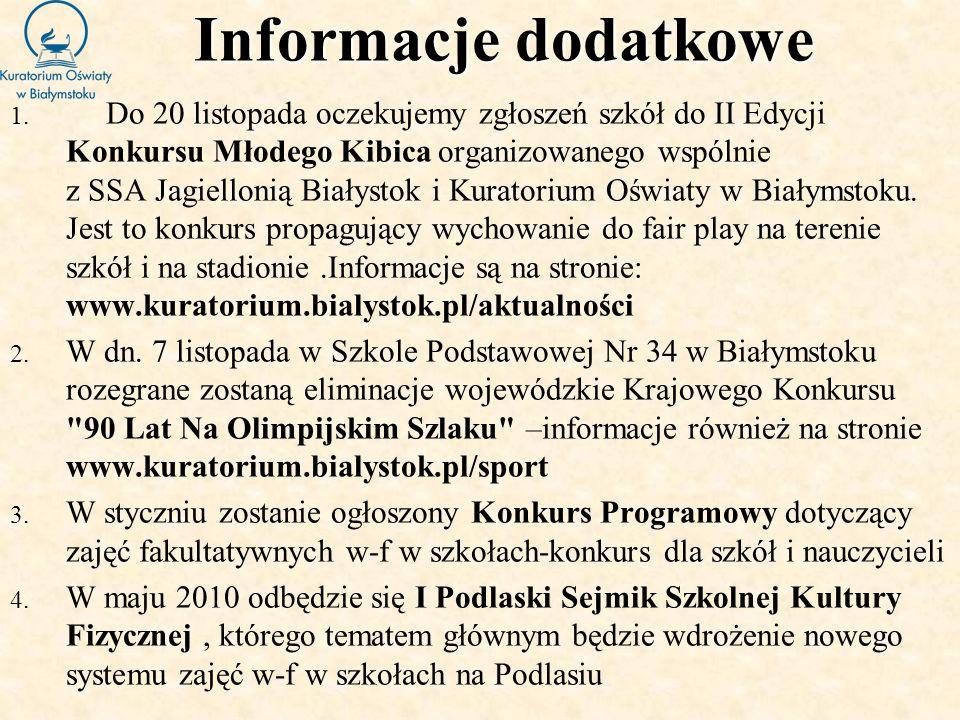 Informacje dodatkowe 1. Do 20 listopada oczekujemy zgłoszeń szkół do II Edycji Konkursu Młodego Kibica organizowanego wspólnie z SSA Jagiellonią Biały