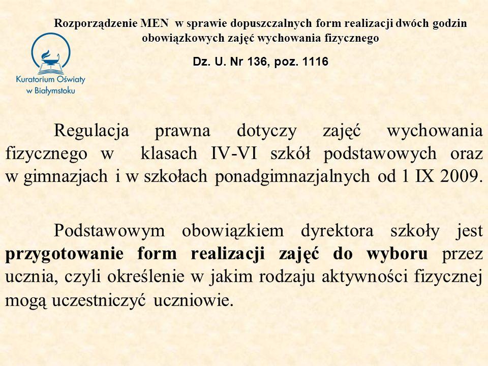 Rozporządzenie MEN w sprawie dopuszczalnych form realizacji dwóch godzin obowiązkowych zajęć wychowania fizycznego Dz. U. Nr 136, poz. 1116 Regulacja