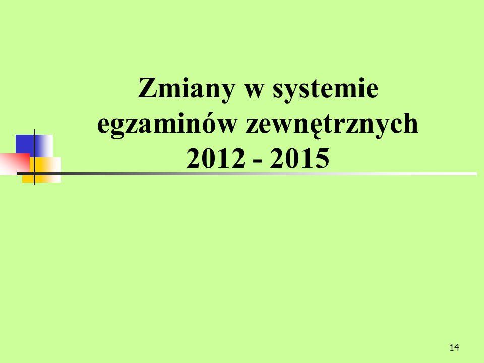 14 Zmiany w systemie egzaminów zewnętrznych 2012 - 2015