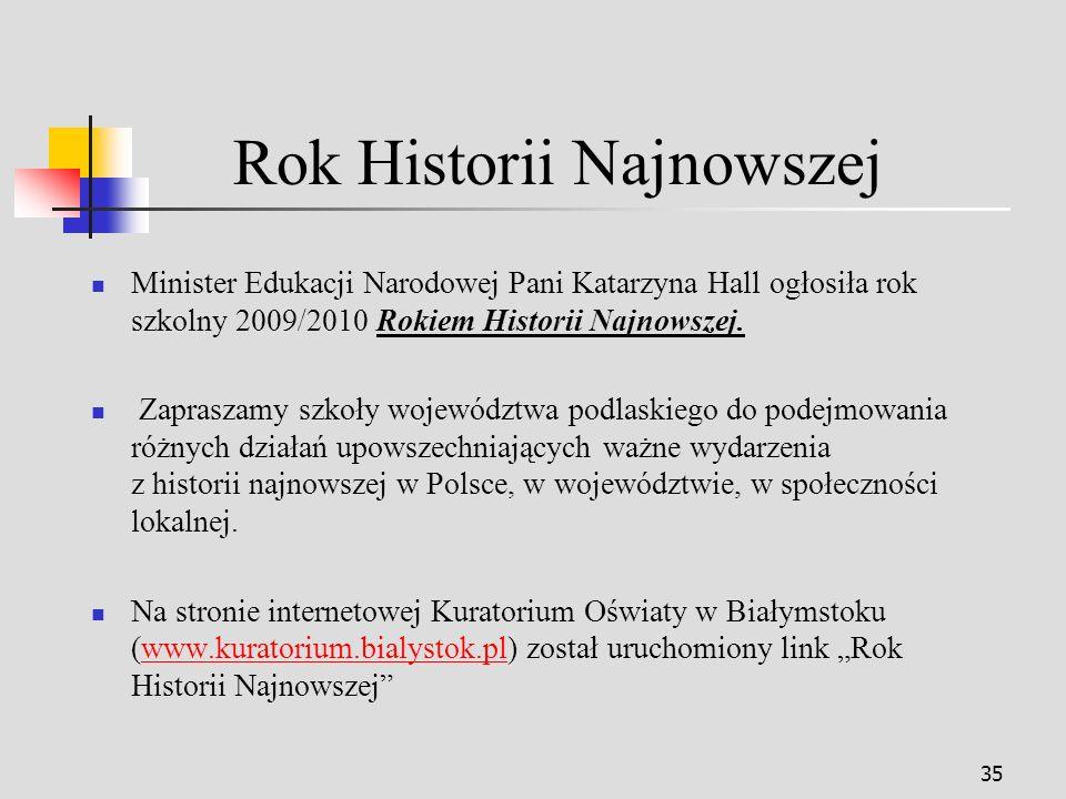 35 Rok Historii Najnowszej Minister Edukacji Narodowej Pani Katarzyna Hall ogłosiła rok szkolny 2009/2010 Rokiem Historii Najnowszej.